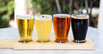 Flight of beer samplers