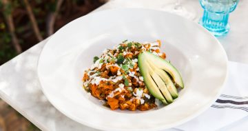 Chilaquiles with avocado