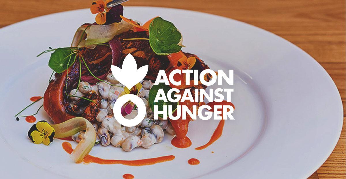 Action Against Hunger logo over Herringbone's Buffalo Octopus dish