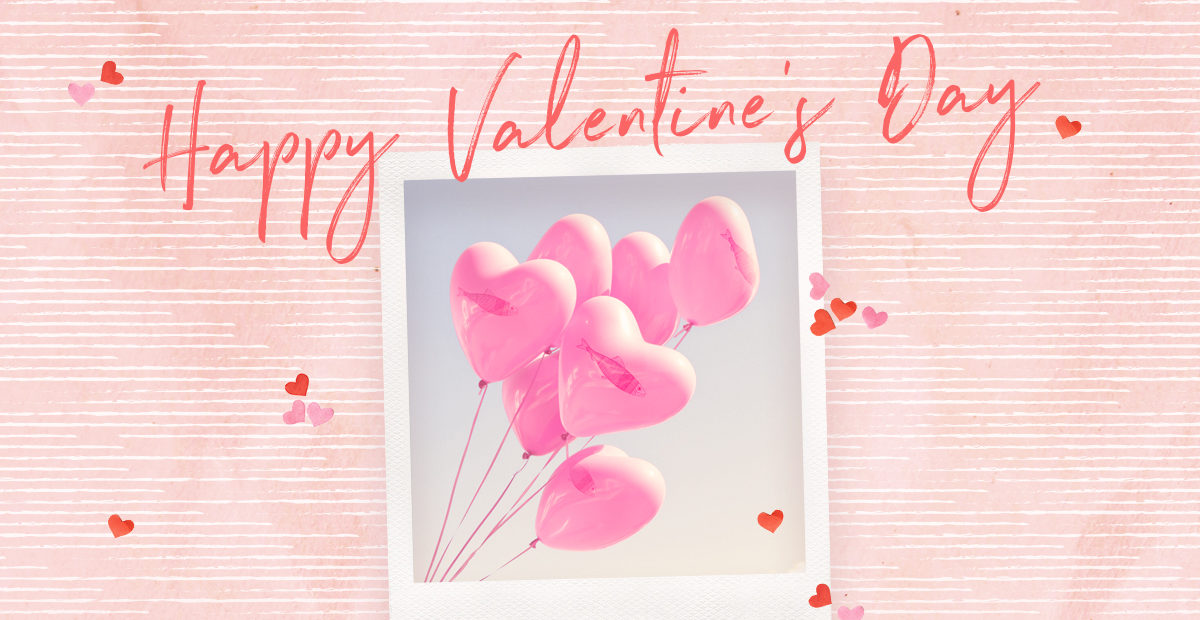 Happy Valentine's Day design with hear balloons