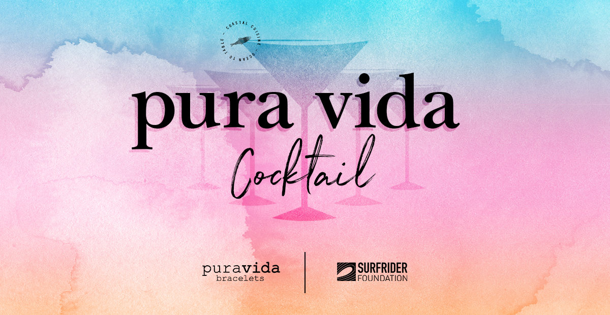 Pura Vida cocktail campaign with a blue pink and orange watercolor background